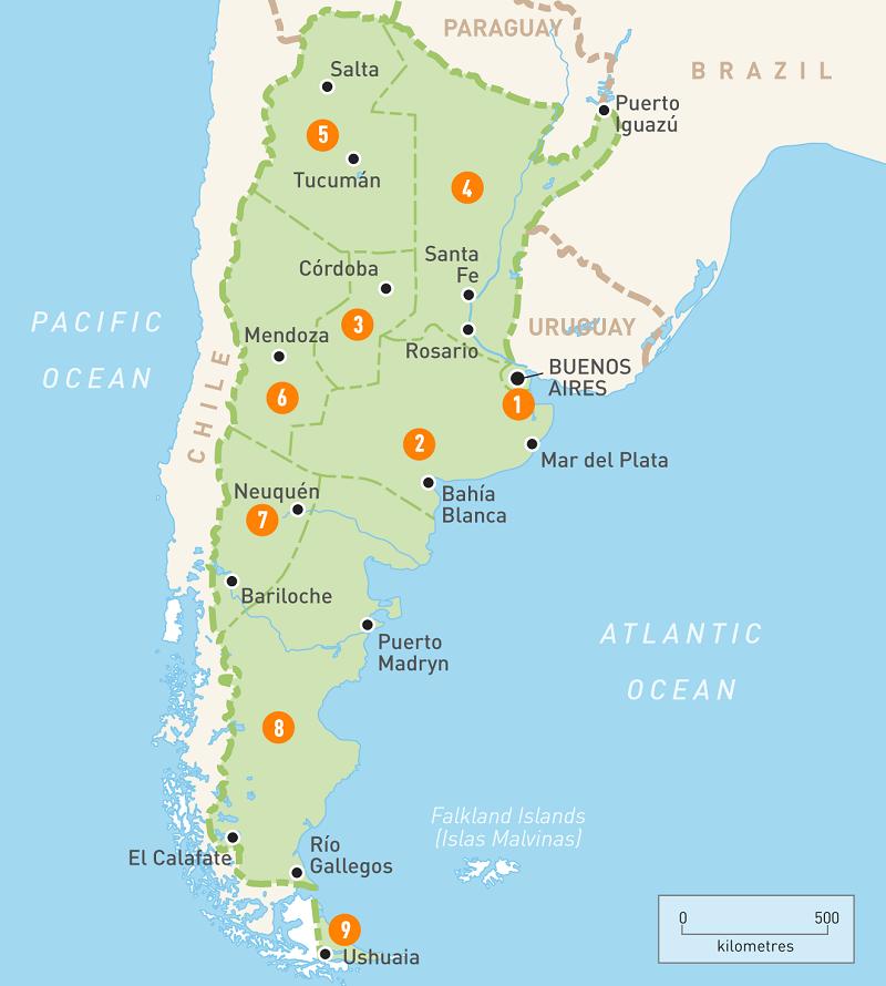 Aluguel de carro na Argentina - Mapa