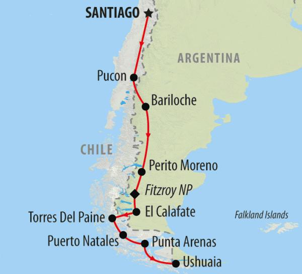 Viagem de carro alugado pelo Chile